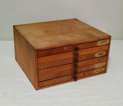 Vintage Wood Cabinet With 6 Drawers Small Tabletop Printer Letterbox