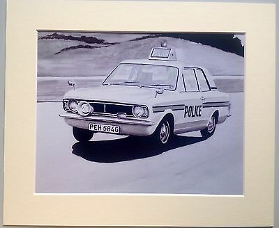Mounted Print Of A Classic Ford Cortina Mk2 Police Car