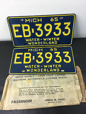 Spectacular Pair 1965 Michigan License Plate Plates w/Sleeve  Mustang Hotrod