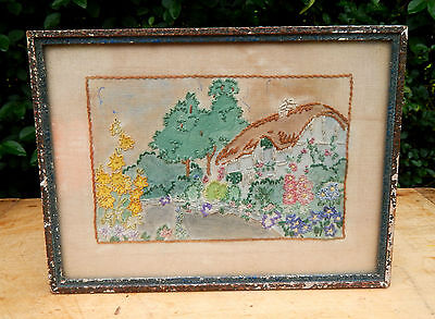 Gorgeous Antique  Vintage Embroidered Cottage Garden Framed Picture Embroidery