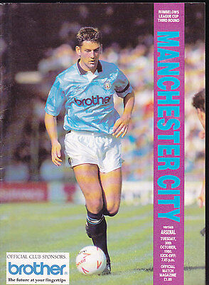 1990/91 MANCHESTER CITY V ARSENAL 30-10-1990 League Cup 3rd Round Rumbelows