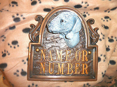 Bedlington Terrier Dog House Sign / Plaque With Number ~< K9 Art Wall Sculpture