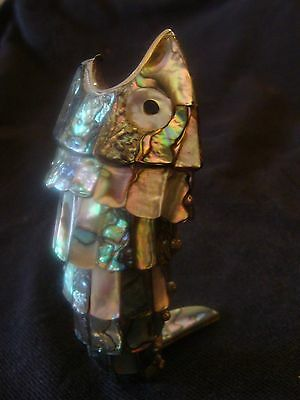 """Beautiful Old Mexican Articulating Abalone Fish Bottle Opener EXC! 5-1/2"""" Long"""
