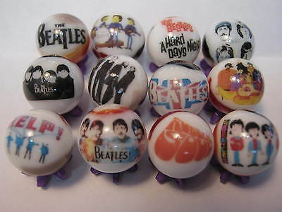 THE BEATLES collection lot glass marbles 5/8size with stands