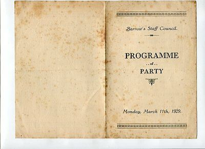 Barrow's Stores, Birmingham: Programme of Party: March, 1929