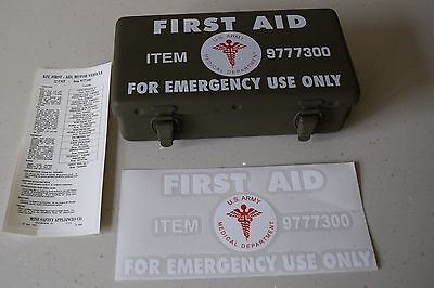 Willys Jeep Hotchkiss Ford GPW Dodge WC GMC 1st first aid box decal sticker set