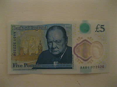 British Five Pound Note with Serial Number AA01 322326