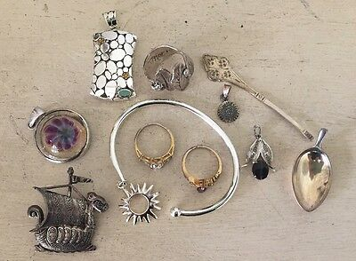 Lot Of Vintage Antique Sterling Silver 925 Jewelry Scraps Rings Bracelet Pin 83g