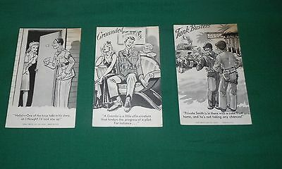 Exhibit Supply Co. Penny arcade cards set of 3 ARMY-NAVY 1943-1944