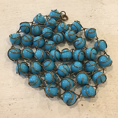 Antique Vtg Chinese Blue Peking Glass Caged Beaded Bead Necklace Strand