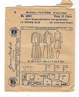 Antique Edwardian Girls Drop Waist Dress Sz 12 Year ca 1900s McCall Pattern 4862