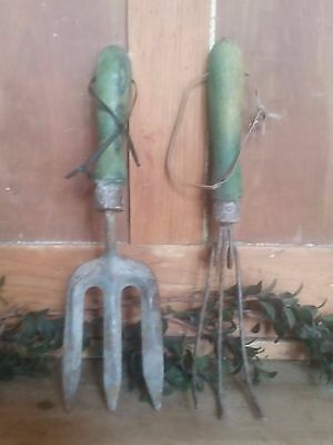 IFGT - Antique Primitive Garden Tools Circa 1940's Green Handles - FARM FRESH