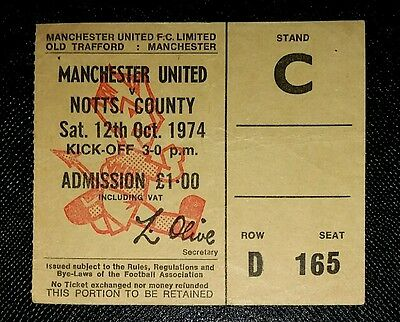 1974/75 Division 2 MANCHESTER UNITED v NOTTS COUNTY    original match ticket