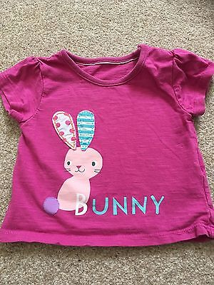 M&S Baby Girl Short Sleeved T Shirt Pink Size 3-6 Months