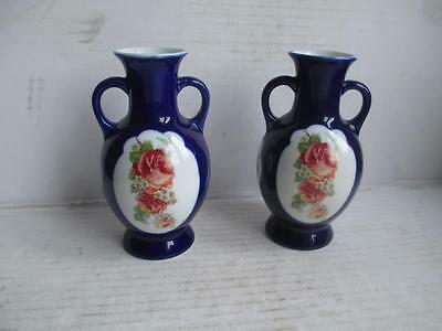 Pair, Vintage 2 Handled Vases, Dark Blue, With Rose Pattern Design.