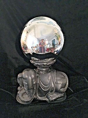 LG Hand Carved Stoned Elephant Statue Orb, Sphere, Globe, Display, Holder 9""