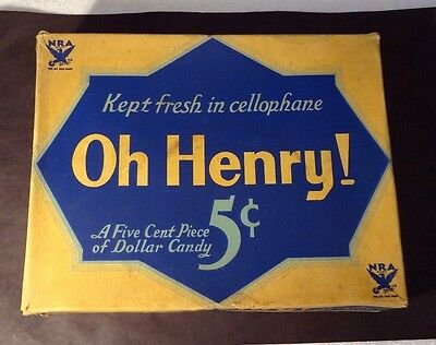 Vintage  Oh Henry 5 cent Candy Bar Display Box, 1940 ERA