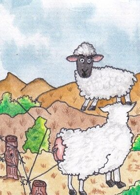 ACEO ATC Original Watercolour Painting Hand Painted Shepards Sheep Caught Your