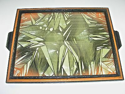Abstract Textile Art Serving Tray, Asian Wood Frame, Black, Red, Silver, Vintage