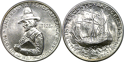 1920 Pilgrim 50C Commemorative Silver Half Dollar Almost Uncirculated