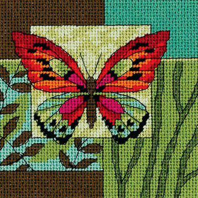 """Butterfly Impression Mini Needlepoint Kit 5""""X5"""" Stitched In Thread 7222"""