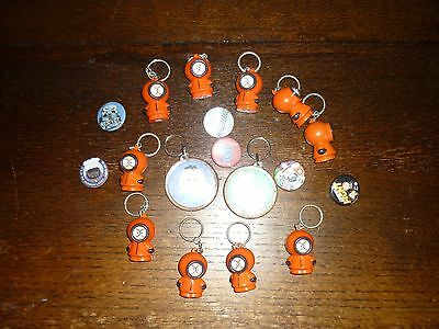 South Park 10 X Kenny Squeezie Keyrings  + New Pin Badges + Other Keyrings