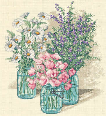 """Wildflower Trio Counted Cross Stitch Kit 11""""X12"""" 14 Count 35122"""