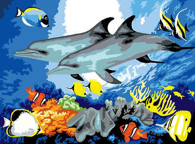 """Junior Large Paint By Number Kit 15.25""""X11.25"""" Dolphins PJL10"""