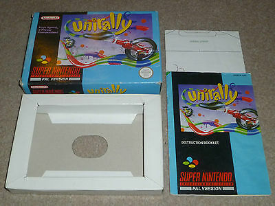 Snes Super Nintendo - Unirally - Box, Instructions And Map Only