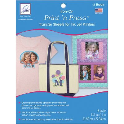 "Print 'n Press Iron On Transfer Paper 8.5""X11"" 3/Pkg White JT908"