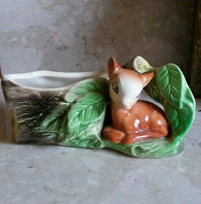 Vintage  Eastgate / Withernsea Pottery Small Log Planter With A Seated  Fawn.