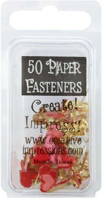 Painted Metal Paper Fasteners 50/Pkg Hearts   Red, White & Pink CI90393