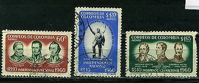 Colombia 3 used  Aereo stamps 1960