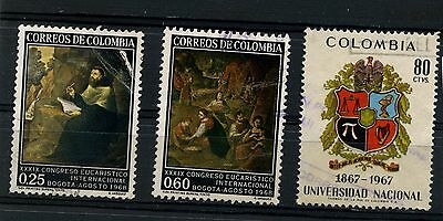 Colombia 3 used   stamps 1968