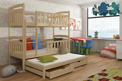 3 Bunk Bed Viki Triple Pine Solid Wooden Foam Mattresses And Storage Heavy