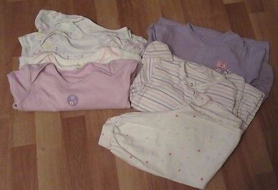 Large bundle of vests, sleepsuits and pair of pyjama bottoms 18-24 months