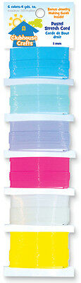Clubhouse Crafts Stretch Cord Pastel   4yd Each Of 6 Colors 89001STC-14