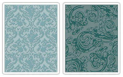 Sizzix Texture Fades A2 Embossing Folders 2/Pkg Damask & Regal Flourishes By Tim