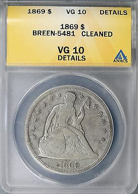 1869 Seated Liberty Dollar $1 ANACS VG10 Details