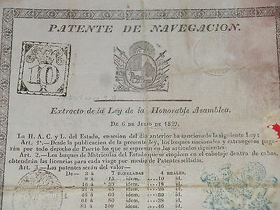 Uruguay Document 1829 1840 Patente De Navegacion Montevideo Revenue Stamp