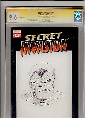 Secret Invasion #1 CGC 9.6 SS with Bob Layton Skrull Sketch