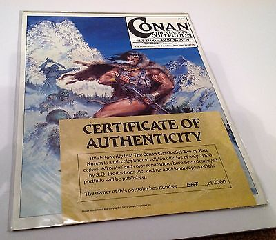Conan The Classics Collection Set Two Earl Norem Portfolio COA 1989 Limited Ed.