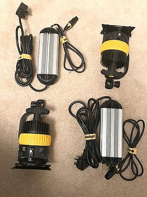 2 x Dedolight DLED4.1-D LED Light Heads (Daylight) + Power Units & Stands
