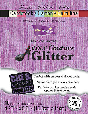 "Core'dinations Cut & Emboss Cardstock Pad 4.25""X5.5"" 30/Pkg Core Couture Glitter"