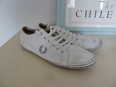 Fred Perry White Lace Up Canvas Plimsole Casual Shoes Size 8 EUR 42
