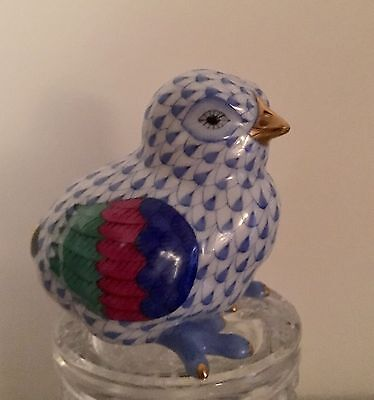 A Stunning Hand Painted Herend Chick In the Blue Fishnet Design