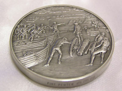 Solid Pewter Medallion 1745 The Official History Of Colonial America Collection