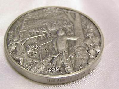Solid Pewter Medallion 1755 The Official History Of Colonial America Collection