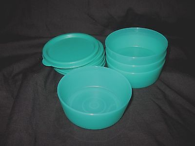 TUPPERWARE 4 Small Mini Half Snack Cups Set 2 oz Bowls Containers Green Rare