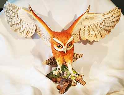 "Franklin Mint ""screech Owl"" Hand Painted Porcelain Sculpture"